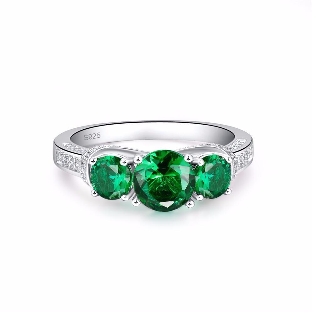 Vendita all'ingrosso di San Valentino 925 Sterling Silver Fashion Green Stone Solid Sterling Silver Ring le donne gioielli