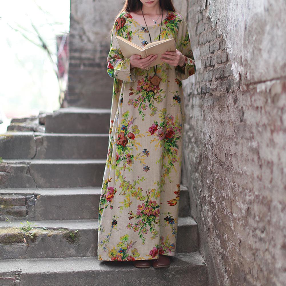Easehut 2019 New Vintage Women Maxi Floral Dress Plus Size Long Sleeves Pockets O Neck Cotton Linen Loose Robe Dresses Vestidos GMX190708