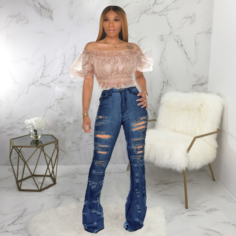 New Design fashion women Blue Color Jean Boot Cut Pants Casual Street Lady Long Denim Pants Sexy Club Wide Leg Jeans (12)