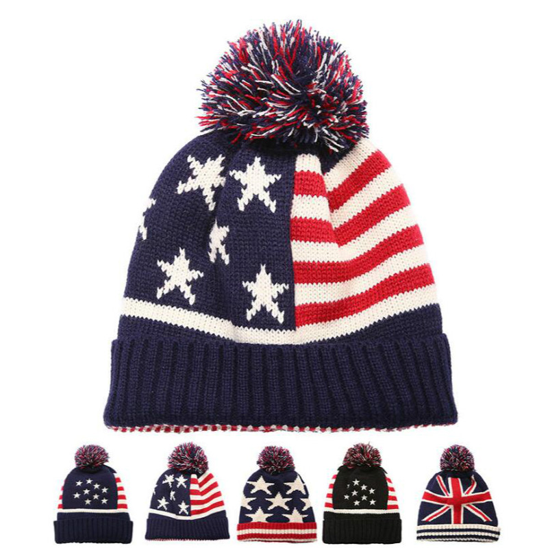 Unisex 3D Knitted Hat Skull Hat Beanie Cap National Guard Patriotic Army American Flag