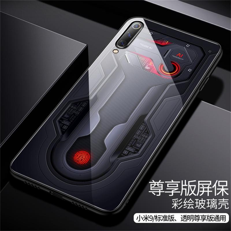 Aixuan Glass Case For Xiaomi mi 9 Mi9 Explorer Xiaomi mi 9 SE Case painted Tempered Glass Silicon Protective full Cover Cases (11)