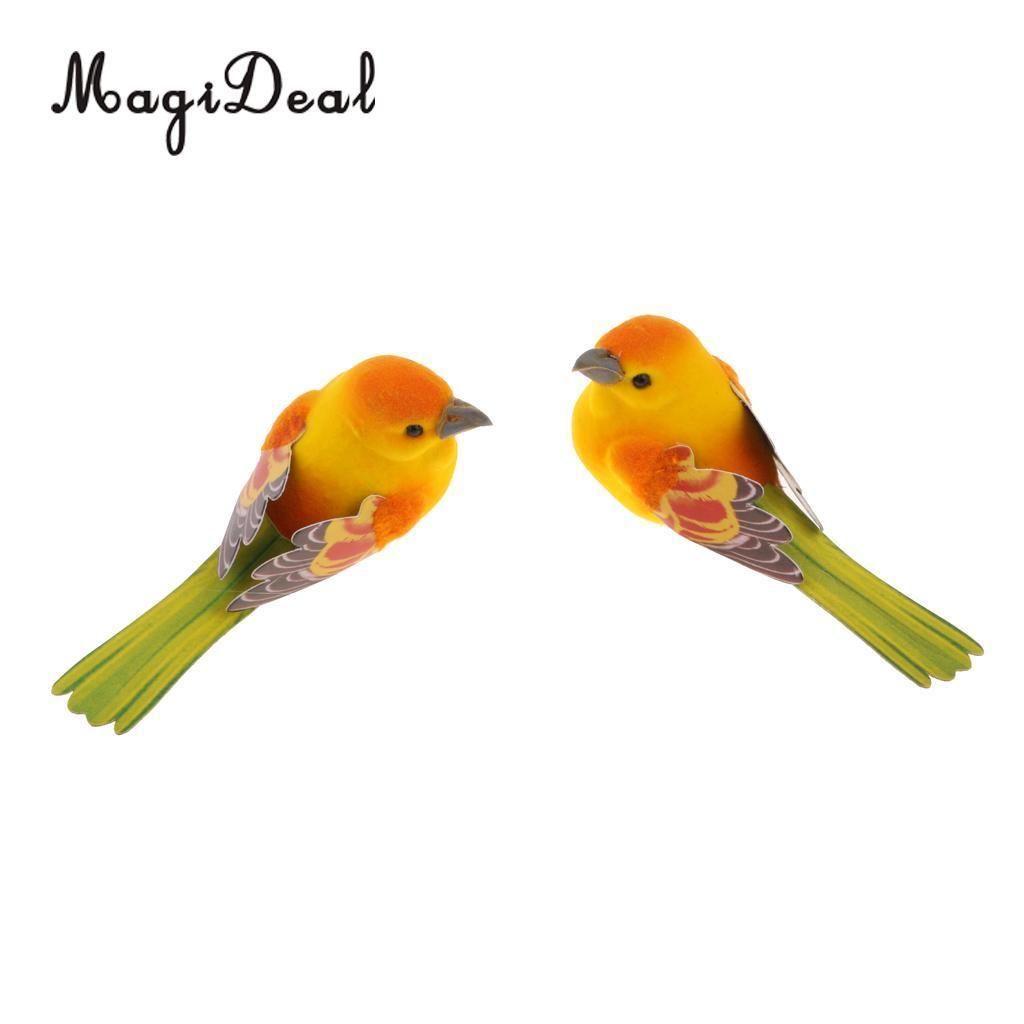 MagiDeal 2pcs Artificial Realistic Decor Fake Bird Simulation Home Ornament Bird
