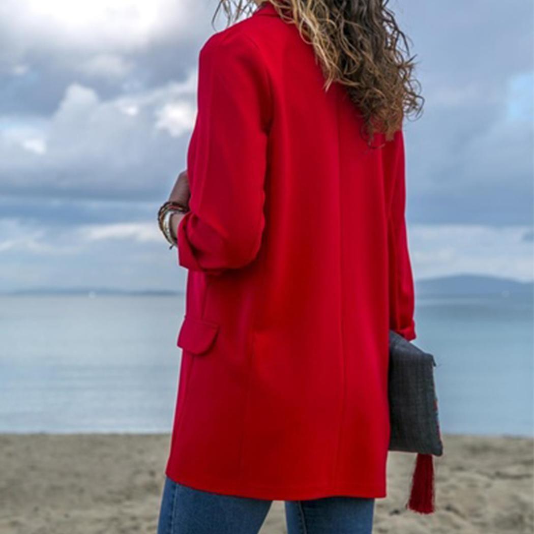Женский повседневный пиджак с отложным воротником с длинным рукавом из сплошного тонкого пиджака Новый женский пиджак