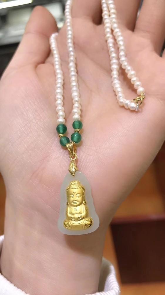 24k or jaune naturel chinois blanc Jade pendentif 4mm perles collier de perles Morther bijoux cadeau