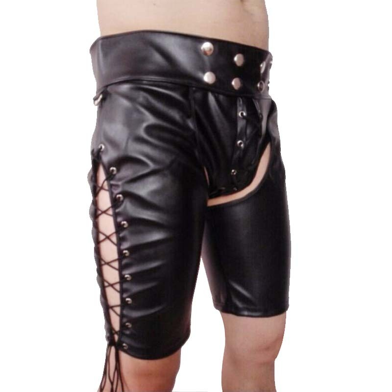 New 2019 Mens Black Faux Patent Leather Pants Nightclub Stage Skinny Performance Trousers Men Sexy Open Crotch Pants Y190508