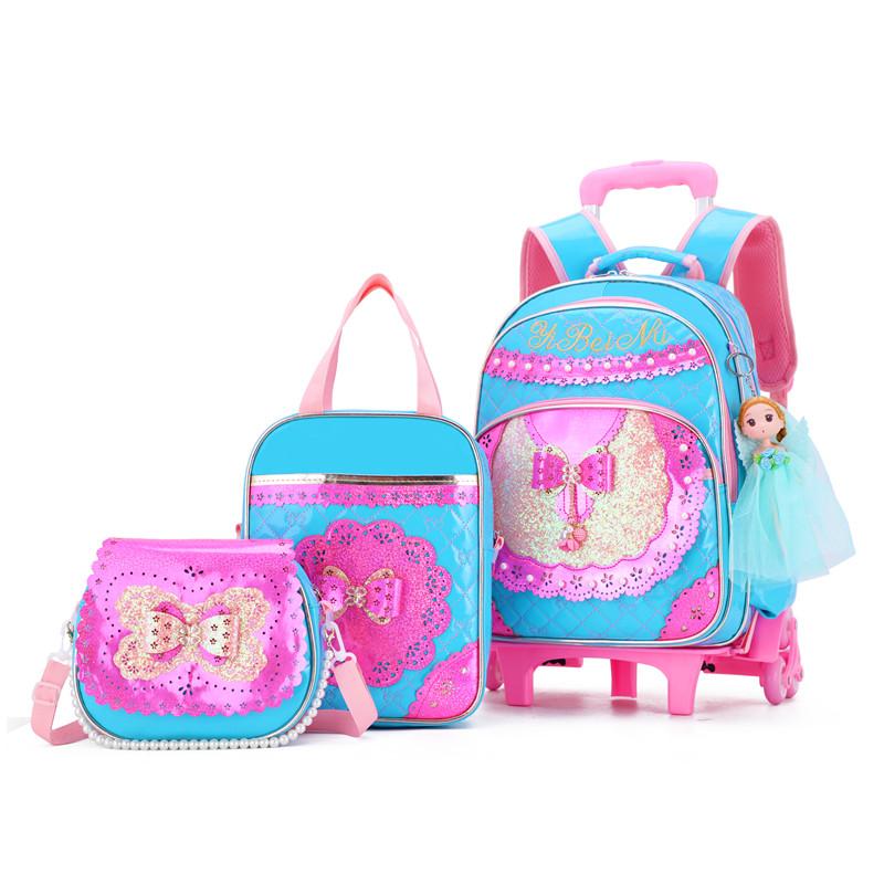2pcs Trolley Rucksack Schulranzen Mädchen Kinder Trolley Schulrucksack Tasche