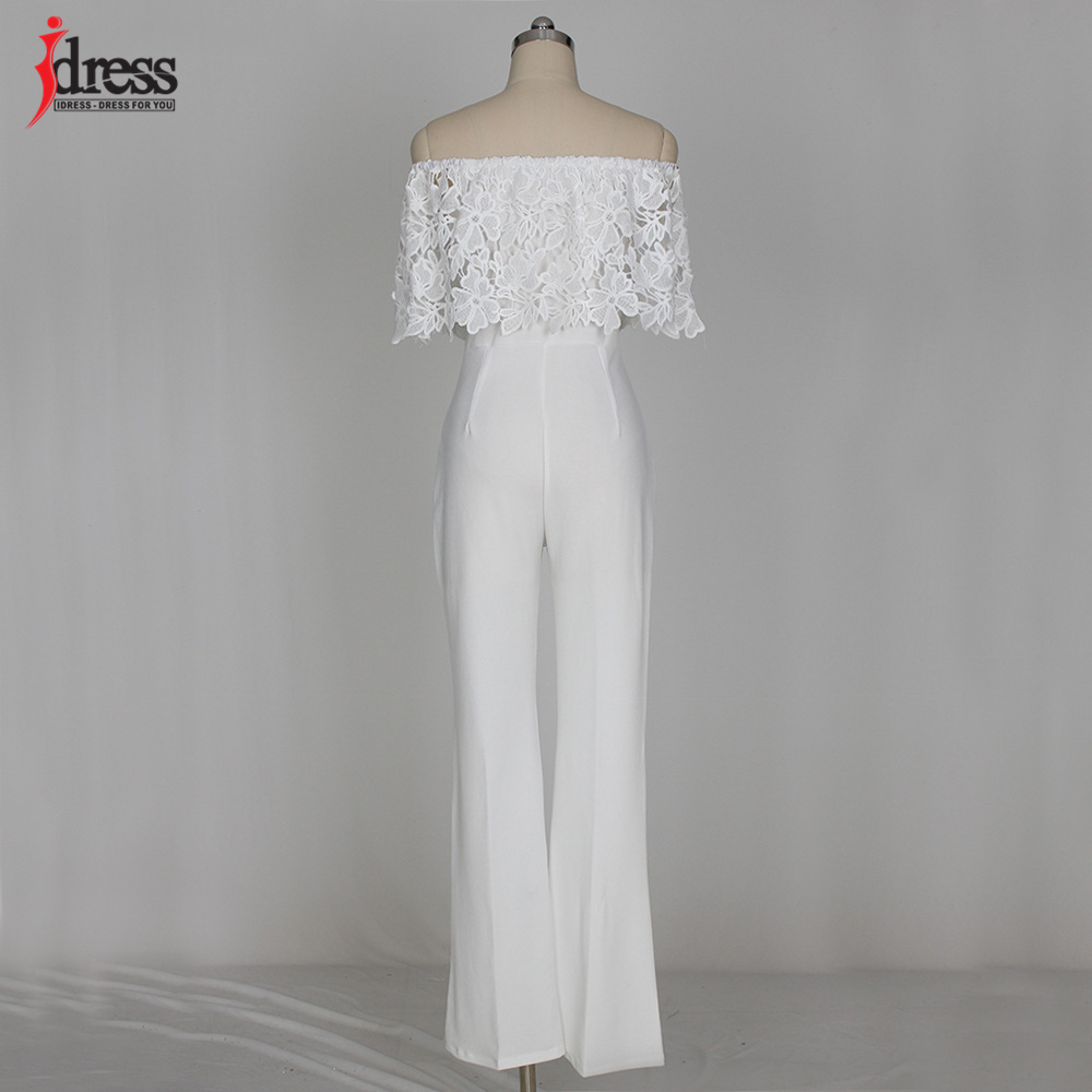 IDress Lace Crochet Rompers Women Jumpsuit Sexy Strapless Bodycon Jumpsuit Wide Leg Black White Yellow Long Pant Romper Overalls (28)