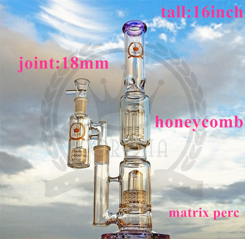 Corona Glass Bong American material water pipe oil rig recycler glass bong smoking pipe Dab rig Hookah with Banger Purple, green color