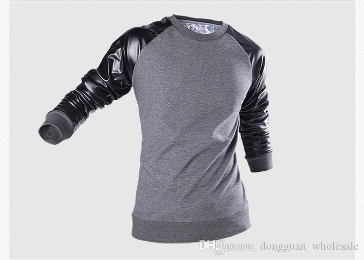 Fashion Nice Spring Mens Fashion Hoodies,Outerwear Pullovers Brand Hip Hop,hoodie Sweatshirt Pu Leather Sleeve 51