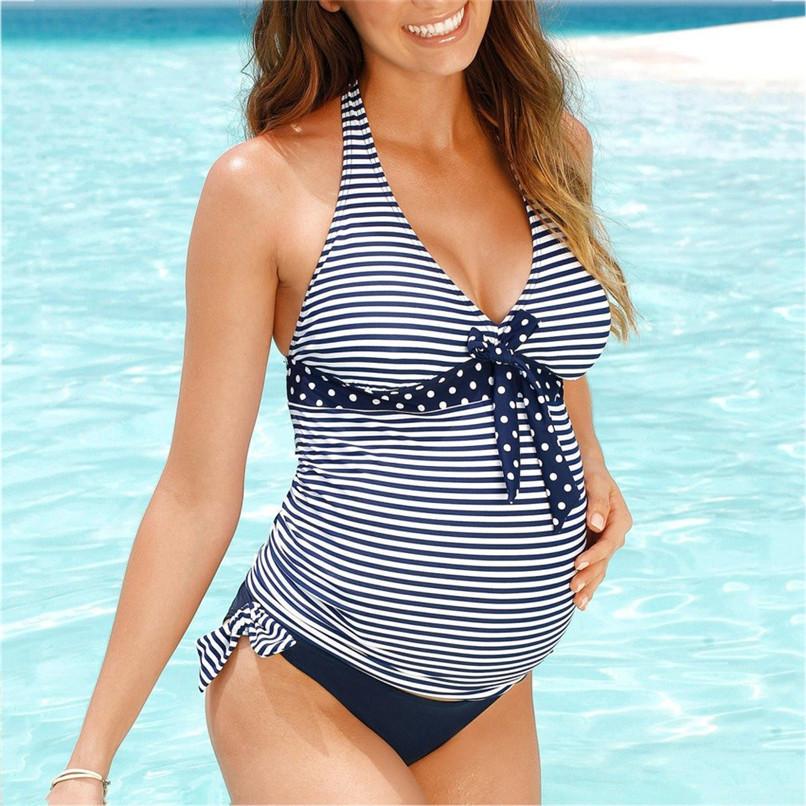 S-5XL Women's Swimwear Sexy Maternity Swimwear Pregnant Stripe Dot Bowknot Swimsuit Plus Size Beach wear Pregnant Suit JE14#F (3)