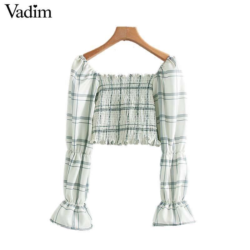 Vadim женщин стильный плед квадратный воротник топ с длинным рукавом эластичный плиссе рубашка женская повседневная шикарная блузка топы blusas LB239 T519053003