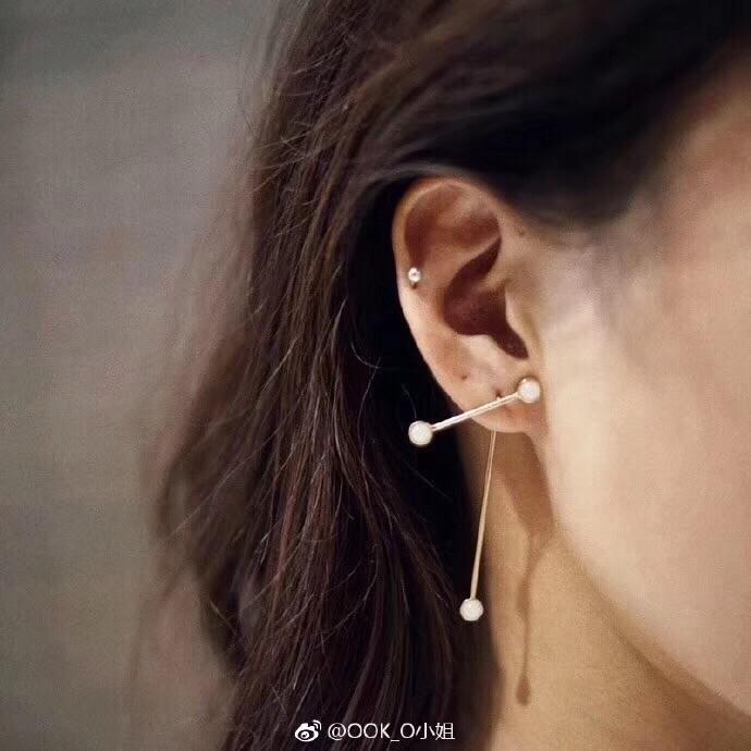 Weibliche Schmuck 2019 Frühjahr Frühling Explosion Modelle Koreanische Version der Opal Ohrringe versilbert Weißgold Roségold zwei Farben