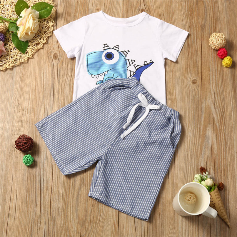 Summer Boys Clothes Toddler Kid Baby Boys Cartoon Printing T-shirt+Short Pants Clothes Outfits Set NDA84L18 (7)