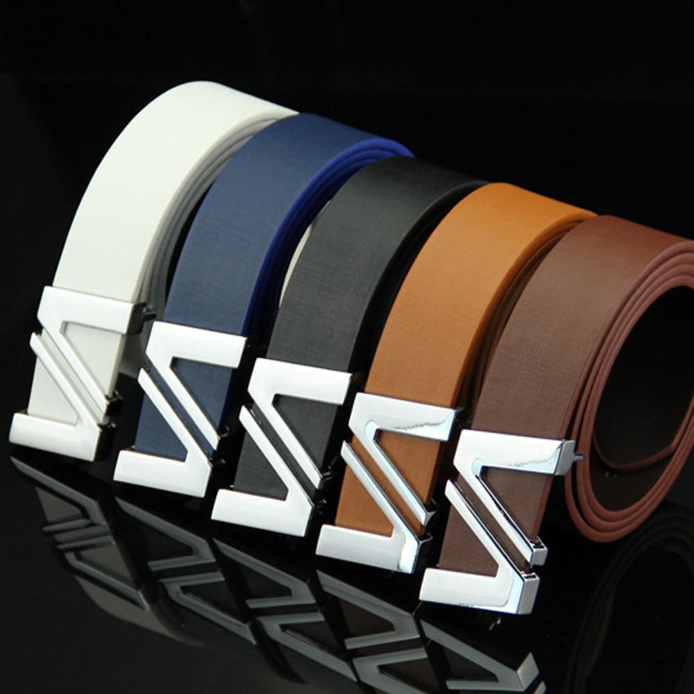 Correas de lujo del diseñador para los pantalones vaqueros para hombre de la correa de cuero liso Cinturón hebilla de correa de la pretina Ocio Estudiantes de la manera simple Nueva