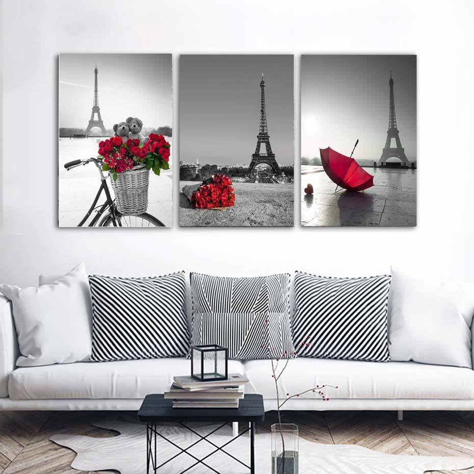 Salon Rouge Blanc Noir 3pcs / set moderne noir-blanc-rouge paris paysage affiche, tour eiffel hd  photo toile peinture pour salon home decor