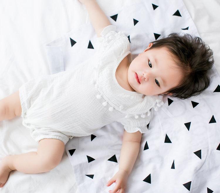 Cute Newborn Baby Girl Romper 2017 Summer short sleeve Princess fur ball Sunsuit One Pieces Tassel Clothes free drop shipping (19)