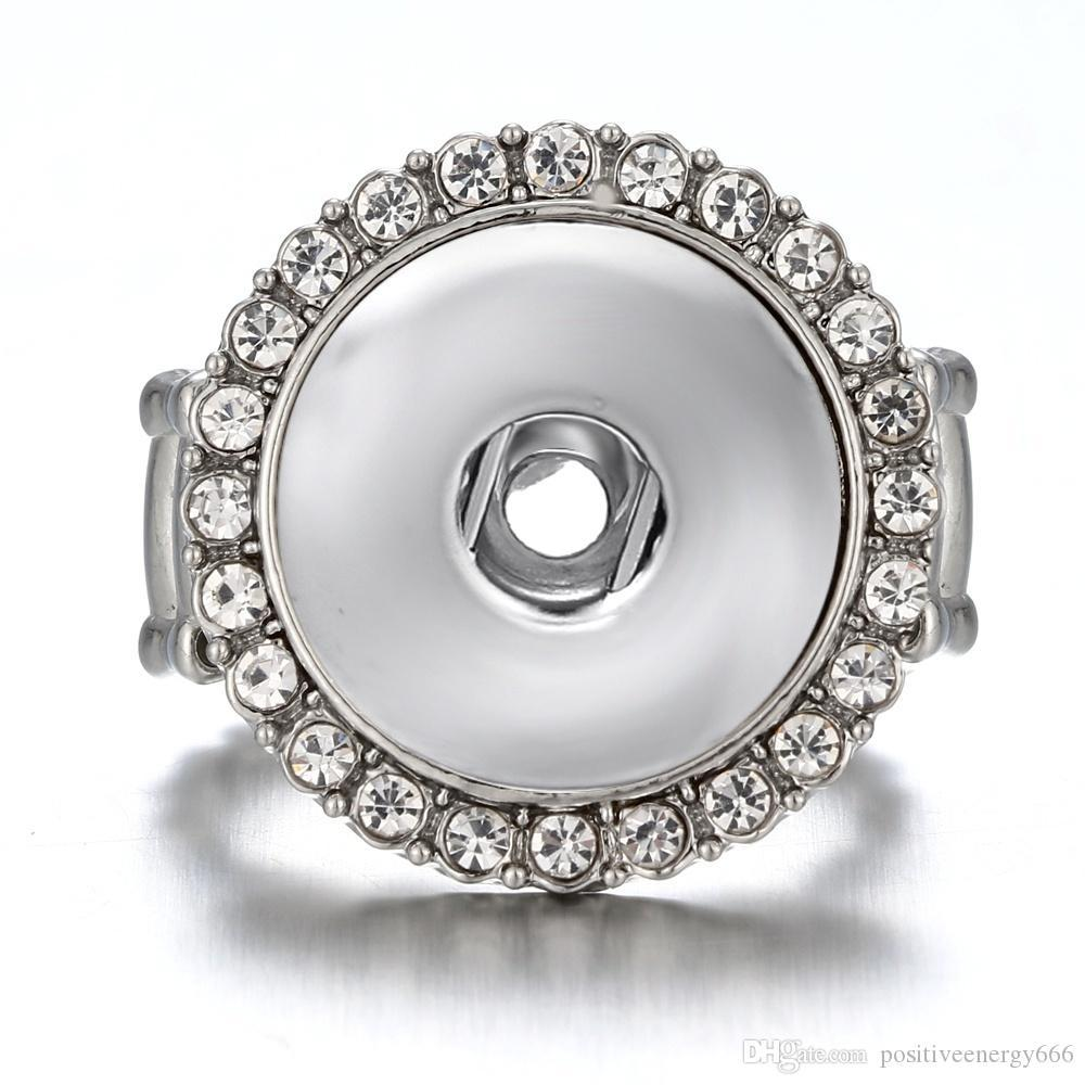 Newest Snap Ring jewelry fit 18mm Ginger Snap Metal Silver Rings Snap Button Adjustable Ring
