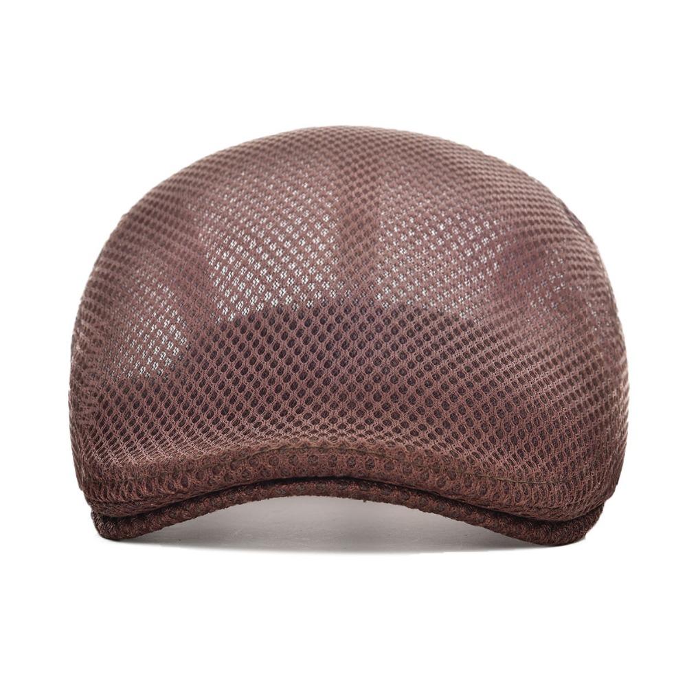 Summer Men Women Casual Beret Hat Flat Cap Cabbie Newsboy Style Gatsby Hat Adjustable Breathable Mesh Caps