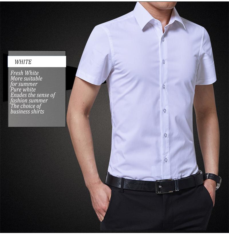 BROWON Brand New Formal Shirt Men Short Sleeve Shirt Turn Down Color Slim Fit Casual Shirt Plus Size M-5XL Camisa Masculina14