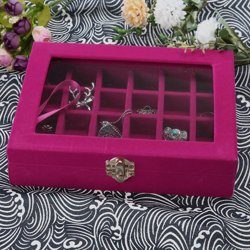 3*3cm 24 Grid Ring Ear Studs Jewelry Storage Display cardboard Box Sueded Wedding Jewelry Casket Pack Show Collection Case 2017
