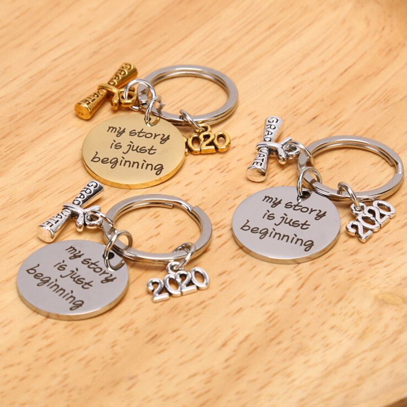 Graduation Gift Keychain for Graduate Him Her Boys Girls Inspirational Stainless Steel Jewelry for College Senior Class High School Student Mantra Quote Engraved Friendship for Best Friends