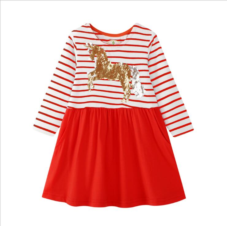 European Baby Toddle Girl Kids Autumn Long-Sleeves Colored Striped Pockets Dress