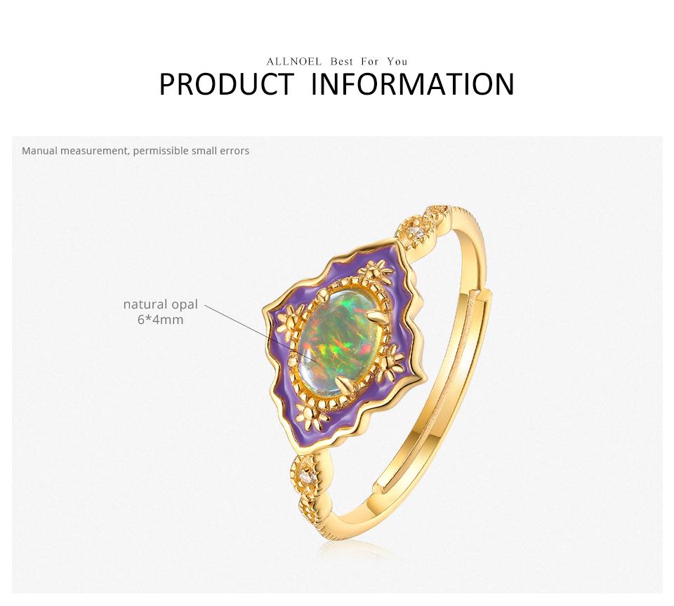 ALLNOEL 925 Sterling Silver Gemstone Rings For Women Vintage Real Natural Fire Opal Enamel Rainbow Ring Wedding Fine Jewelry (1)