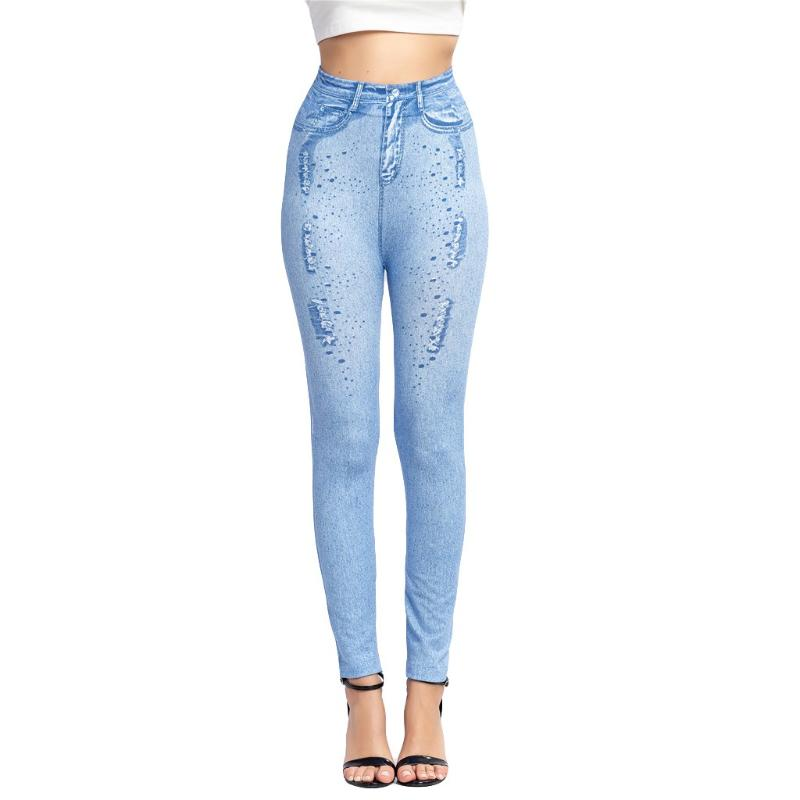 Womens Super Soft /& Stretch Imitation Denim High-Waisted Hips Printed Casual Jeans Pants Long Trouser Leggings