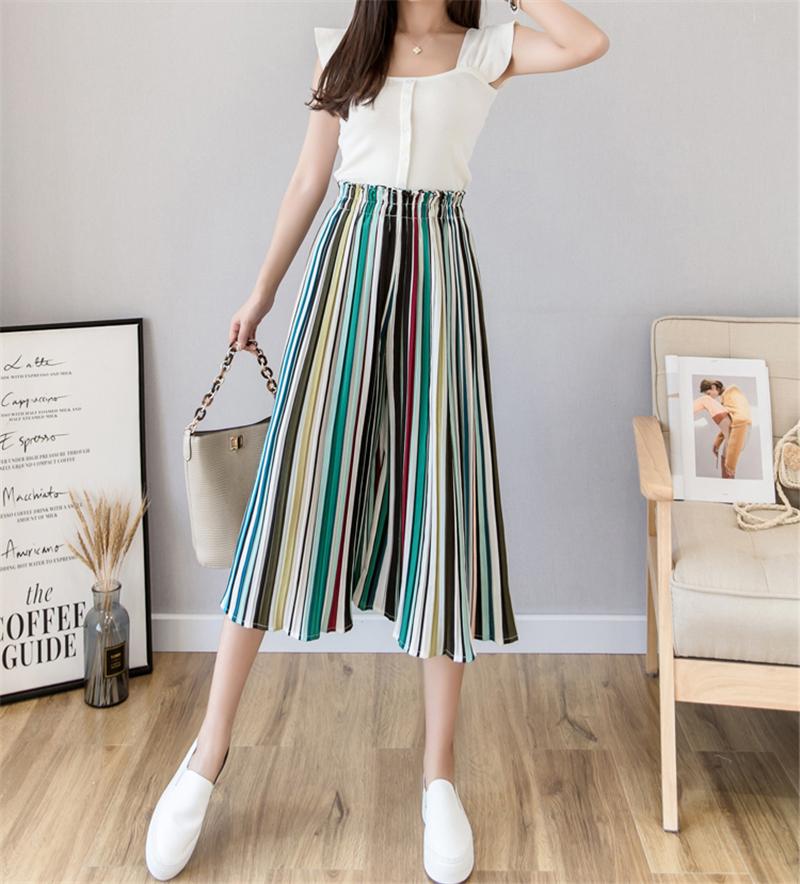 Fashion Women Casual Striped Pants Chic Print Elastic Waist Chiffon Calf-length Pant Summer Ladies Loose Pleated Wide Leg Pants SH190718