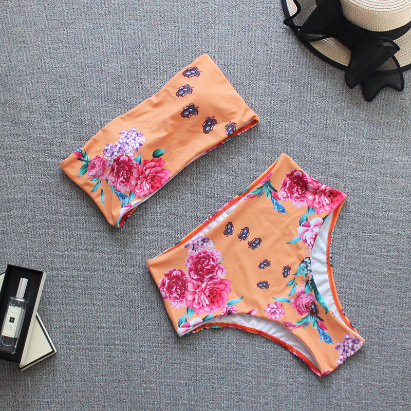 Sexy Colorfu Rainbow Striped Floral Bandeau Biquini Swim Beach Wear Female Cut High Waist Swimsuit Swimwear Women Bikini Q190518