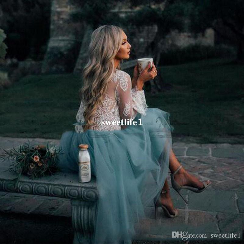 2017 Cheap White and Mint Lace Short Two Pieces Prom Dress Long Sleeve Illusion Boho Party Gowns Graduation Trendy Evening Gowns