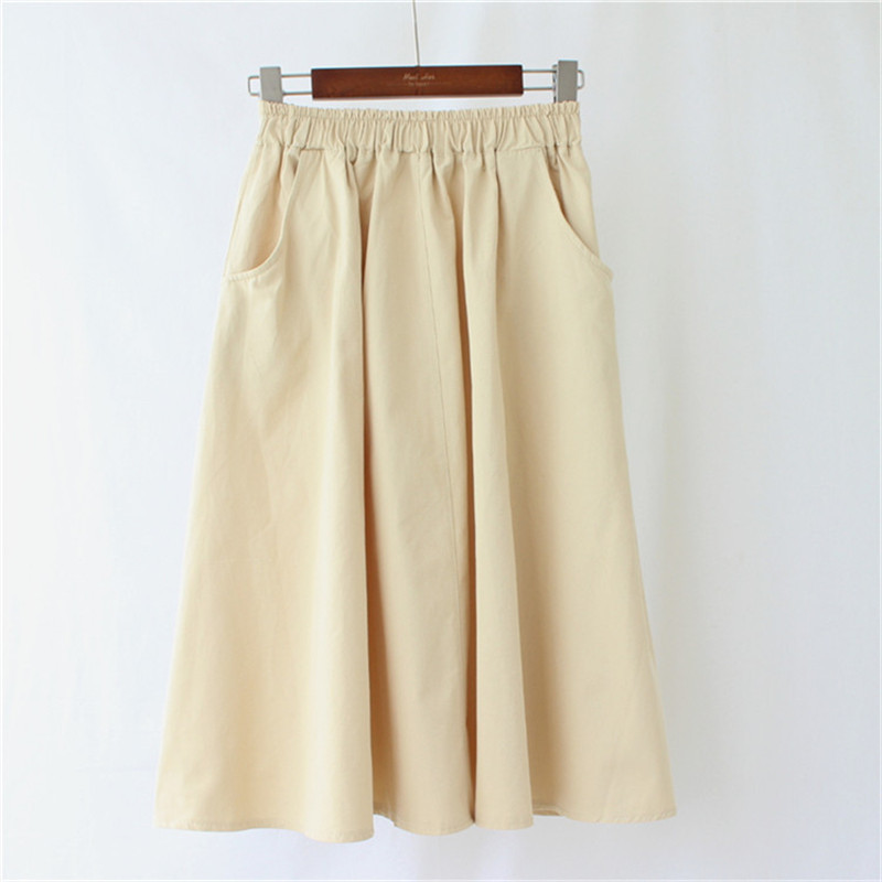 Women Maxi White Cotton Skirt Girl Casual Midi Elastic High Waist Plus Size Flare A Line Pure Color Pocket Summer Skirts Female MX190730
