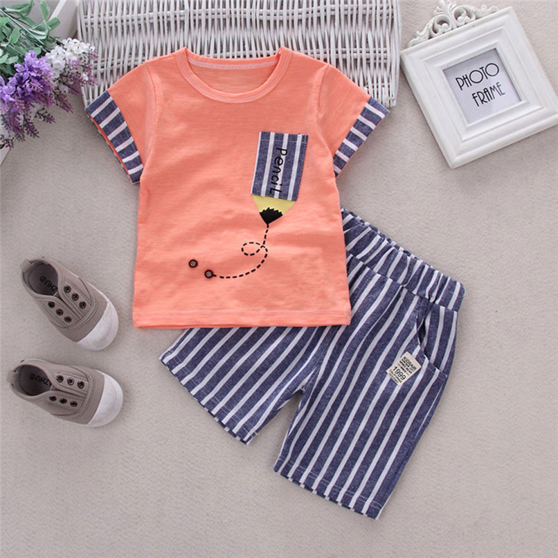 2PCS Baby Boys Sets Toddler Infant Kids Baby Boys Short Sleeve Cartoon Pencil T-shirt Tops+Striped Pants Set Baby Clothes M8Y18 (7)