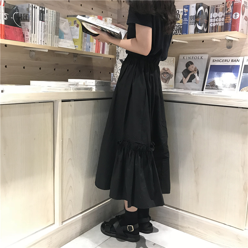 Autumn Solid Color High Waist Long Skirts Pleate Midi Skirts Womens l385 Y19043002