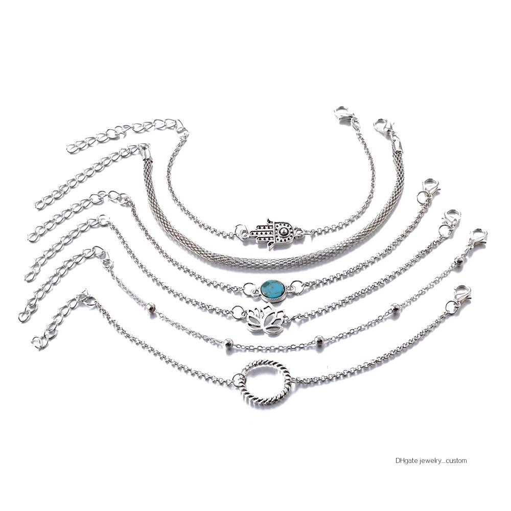 6-unids-set-bohemio-Vintage-de-Color-plata-hueco-flores-de-loto-gema-pulsera-de-las (3)