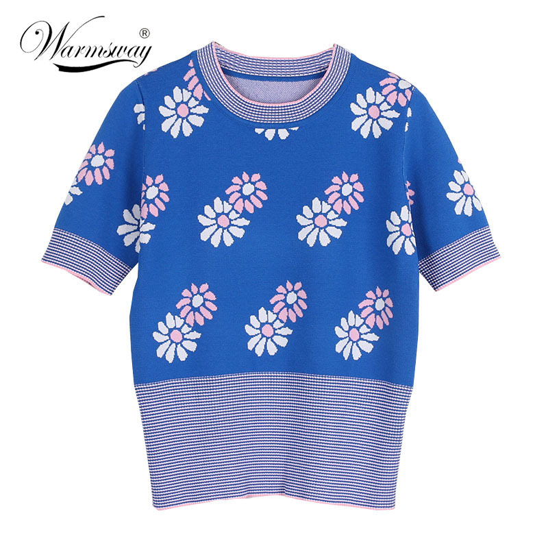 Women Short Sleeve Tee Brand T Shirt Sweet Floral JacquardPreppy Style Summer Spring T-shirt Woman Clothes Tee Tops C-052