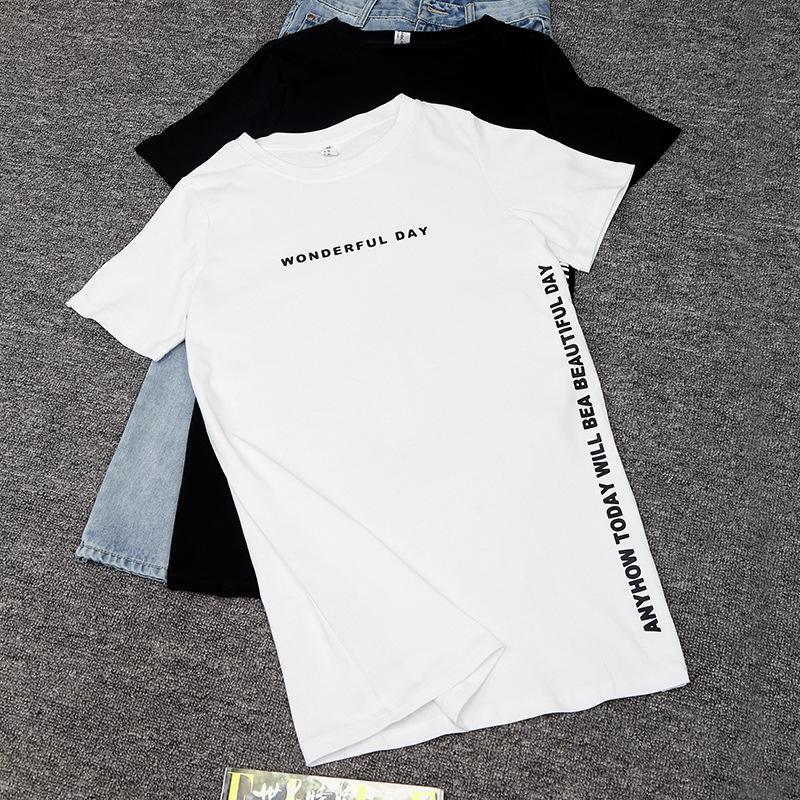 New Summer T Shirt Women Top Tee Short Sleeve Kawaii Cotton Female T-shirt Side Opening Long T-shirts For Women Harajuku Tshirt Y19051301