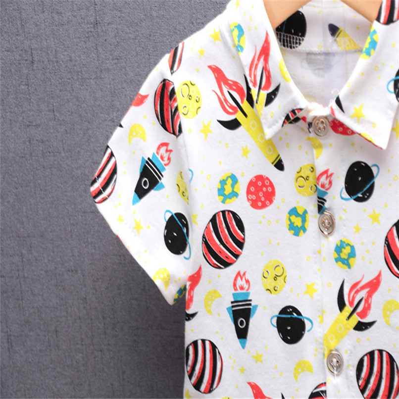 2PCS Baby Boys Sets Newborn Infant Baby Boys Short Sleeve Rocket Print T-shirt Tops+Denim Pants Sets Baby Boys Clothes M8Y16 (9)