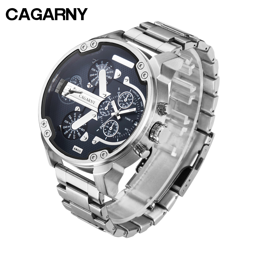 cagarny mens watches quartz watch men dual time zones big case dz military style 7331 7333 7313 7314 7311 steel band watches free shipping (9)