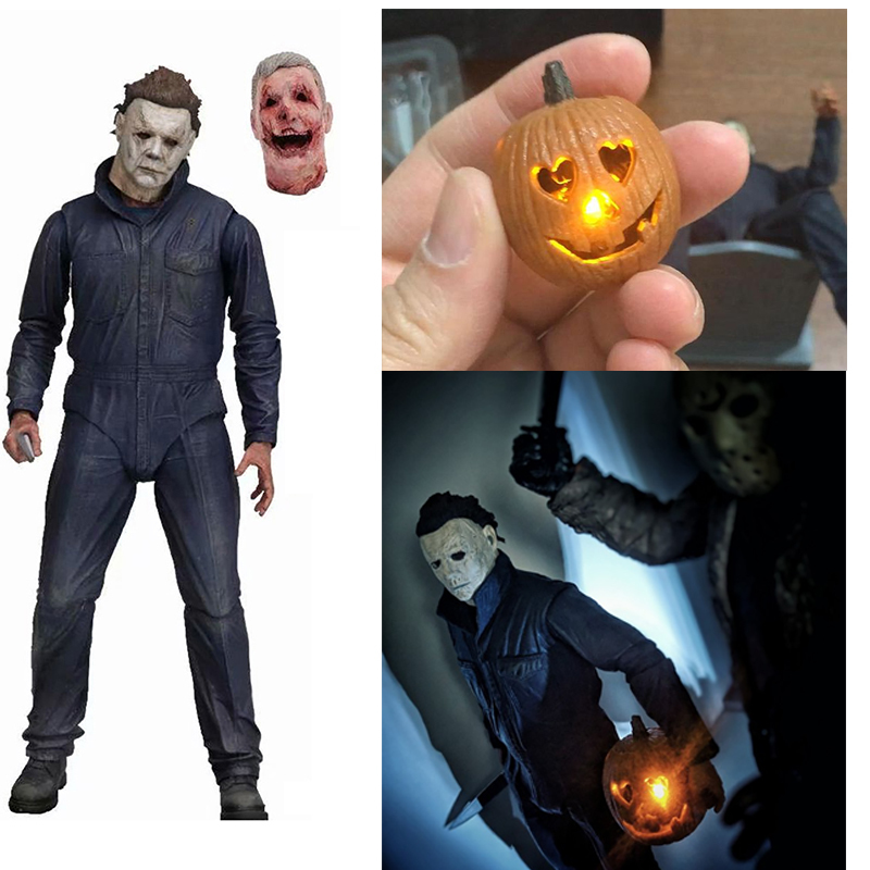 Pumpkin With Led Light Halloween Ultimate Michael Myers Action Figure Collectable Model Toy Doll Gift (00)