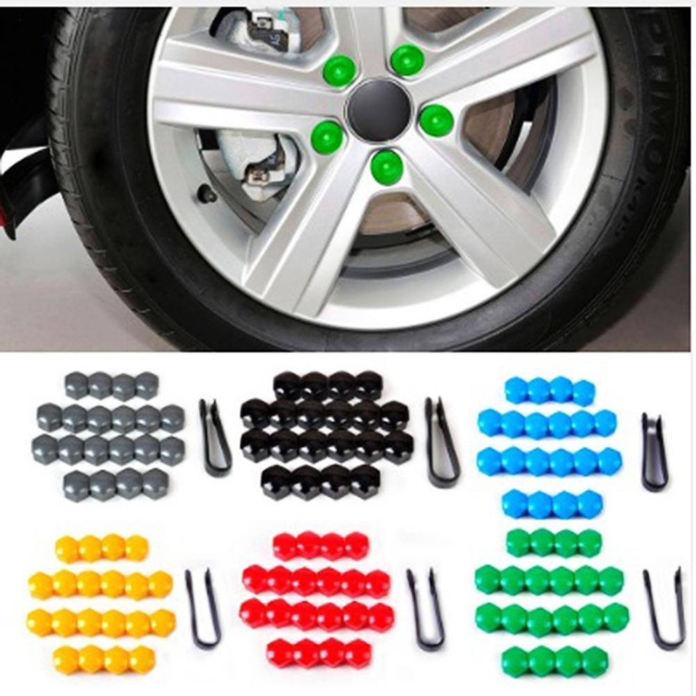 20Pcs 17mm Gray Nut Car Wheel Hub Screw Protection Anti-theft Cover Cap For Audi