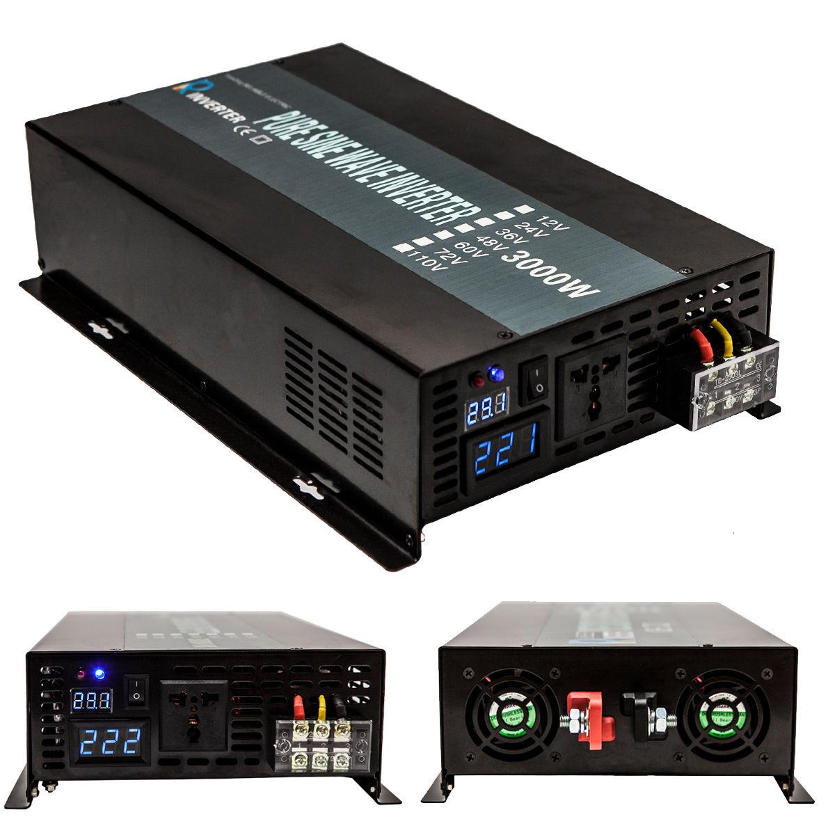 3000W Car Power Inverter 12V DC To 220V AC Pure  Solar Inverter Wave With USB