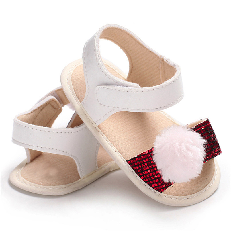 3 Color Summer Baby Girl Shoes Newborn Toddler Baby Girl Soft Ball Sequins Sandals Soft Sole Anti-slip Shoes Girl Sandals JE14#F (24)