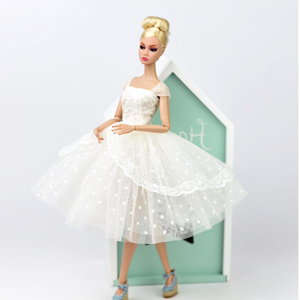 Stylish 1/6 BJD Fashion Doll Dress Form Wedding Dress Evening Gown Pettiskirt Garment for Barbie Doll Party Dancing Outfit White