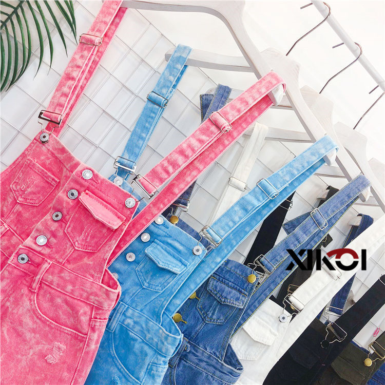 2018 Fashion Denim Bibs Schoolgirl Spring Summer New Loose Korean Thin Hole Burst Fringe Shorts There is a large yard (9)