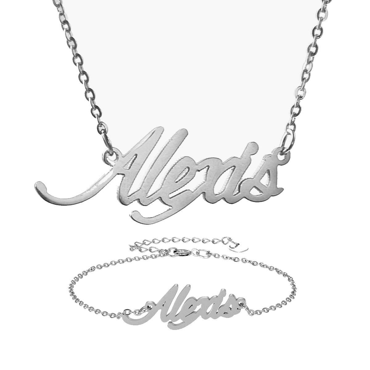 """Fashion Stainless Steel Personalized Name Necklace + Bracelet Set """" Alexis """" Script Letter Gold Choker Chain Necklace Pendant Nameplate Gift"""