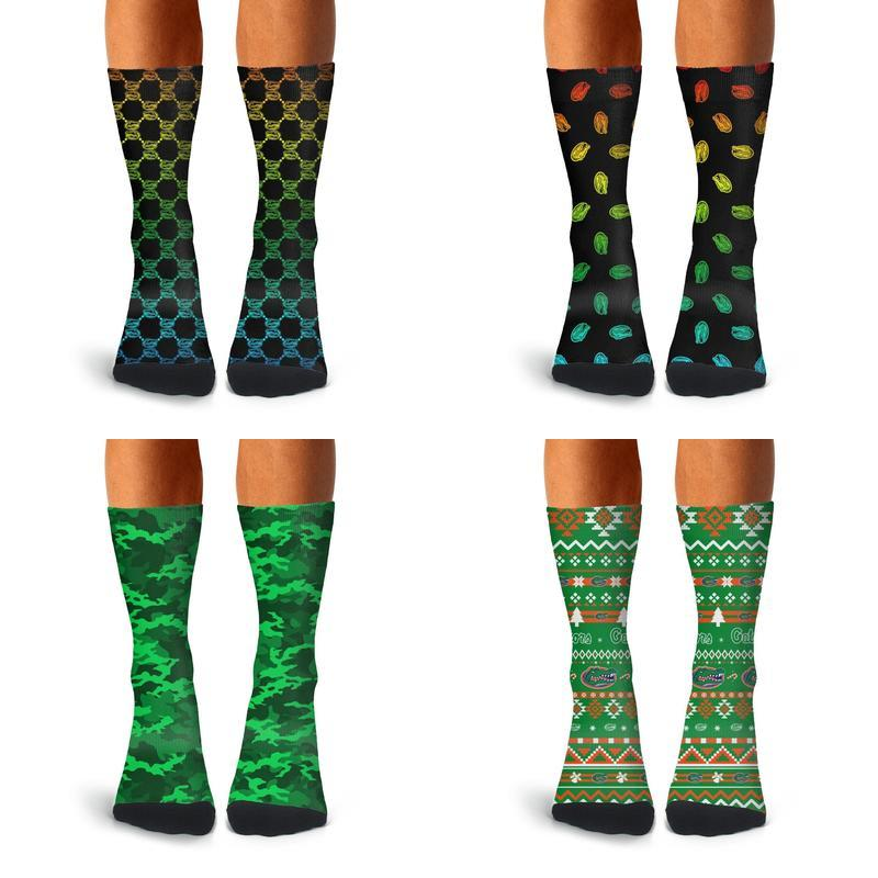 Men High Ankle Cotton Crew Socks Soldier Pattern Casual Sport Stocking