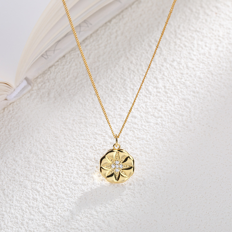 Totasally New Arrival Fashion Stylish S925 Sterling Silver Sun Star Crystal Carved Pendant Necklace For Women Y19050802