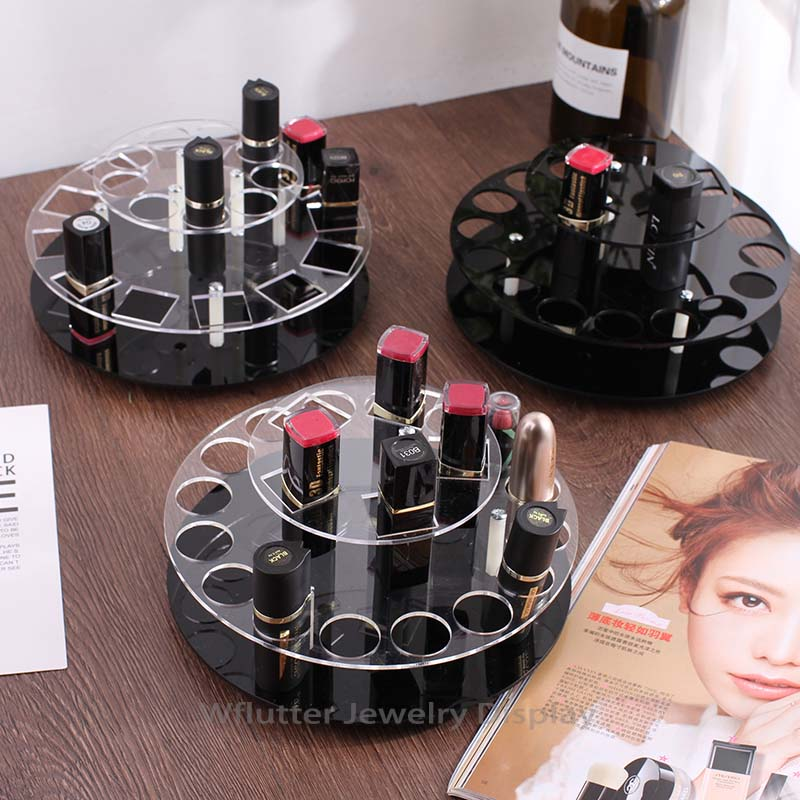 Professional Rotating Acrylic Lipstick Display Stand Cosmetic Showing Rack Jewelry Holder Lipstick Display Props organizer