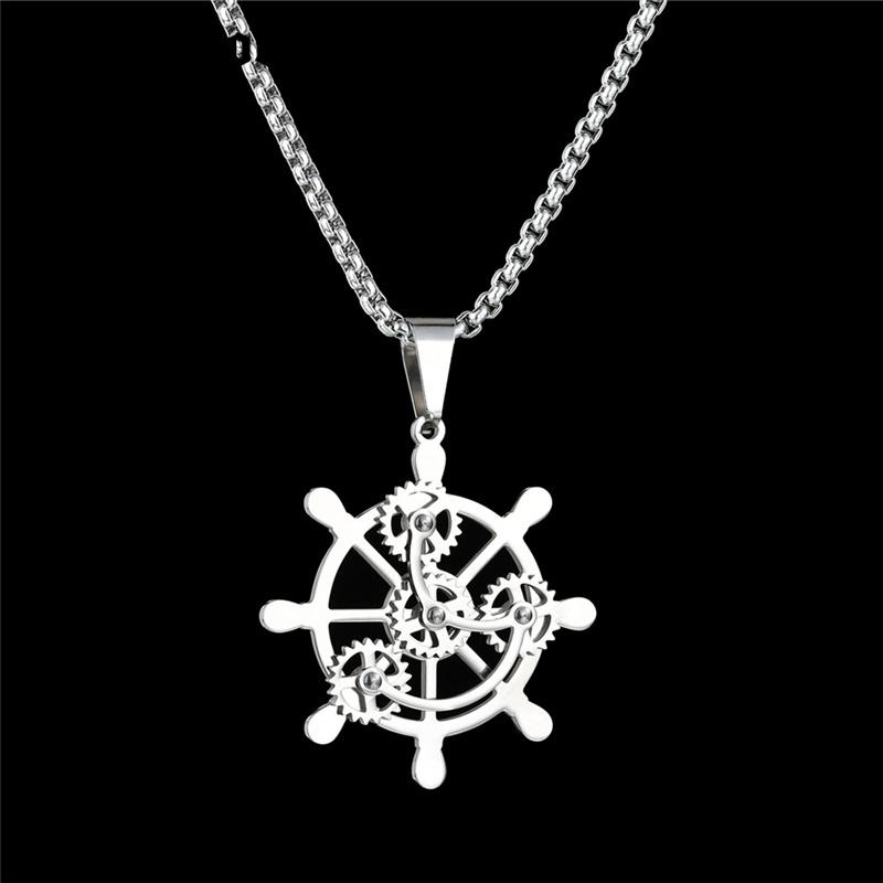 Jewelry Necklaces Necklace with Pendants Stainless Steel Antiqued Pirates Wheel with Skull 30in Necklace